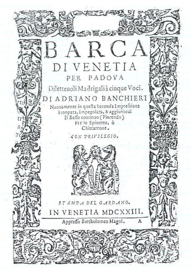 Banchieri - Barca de Venetia per Padova [Frontispício]
